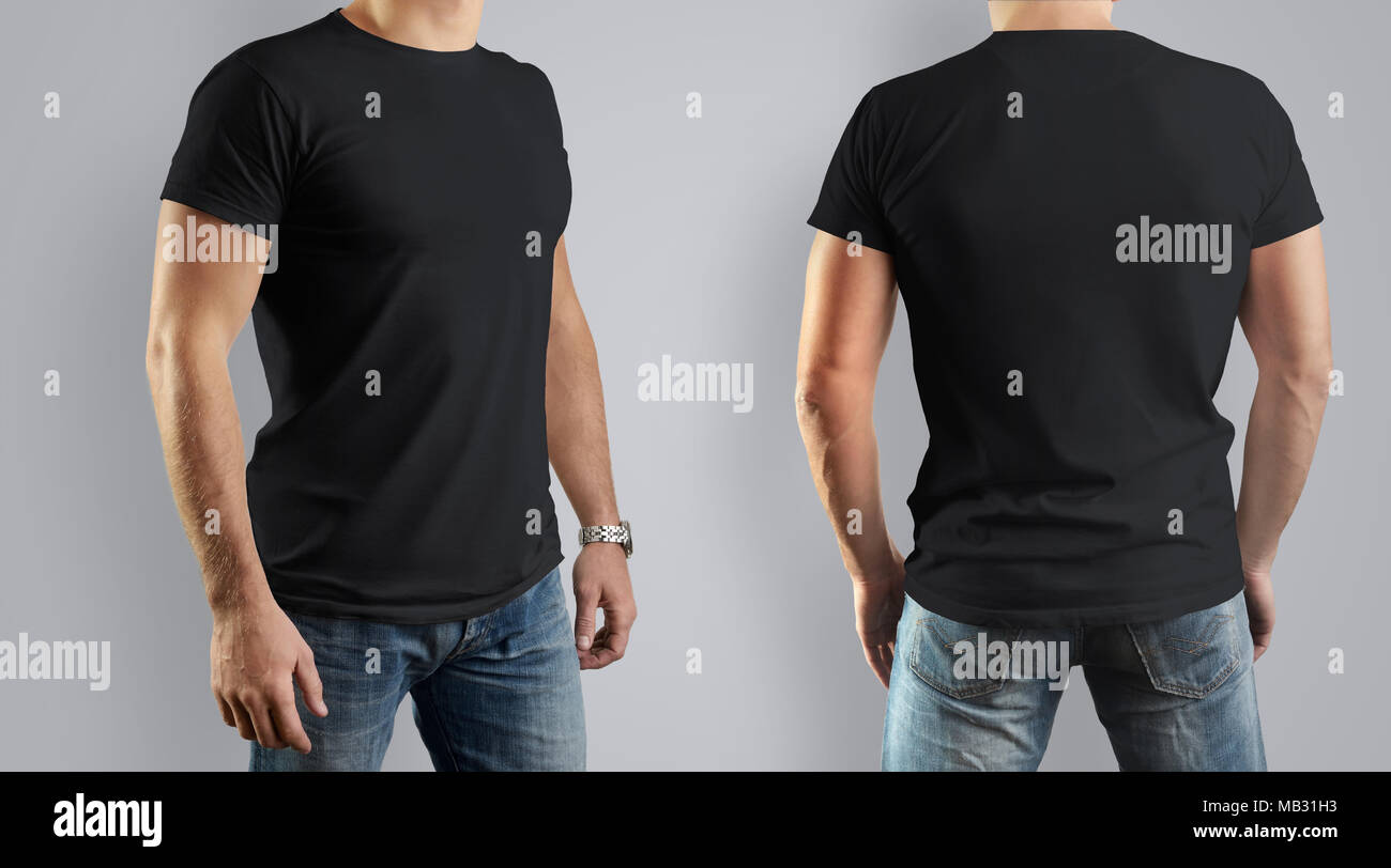 Black Mockup for the design of clothes t-shirt. Young man, front ...