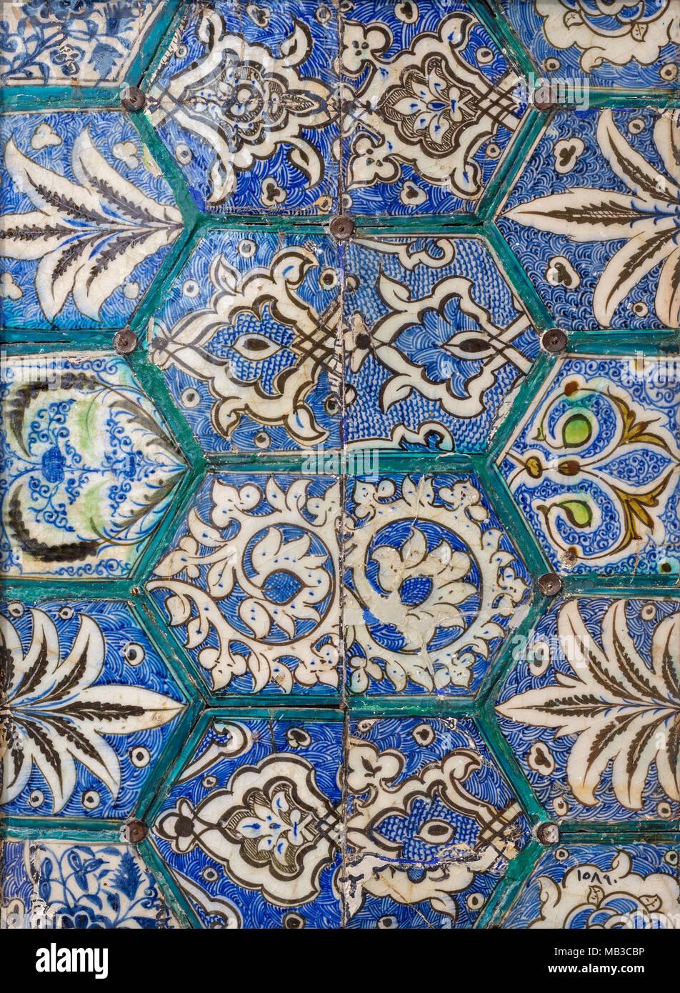 Mamluk Era Style Glazed Ceramic Tiles Decorated With Floral