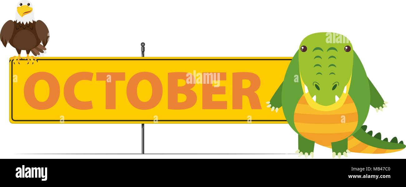 sign template for october with crocodile illustration stock vector