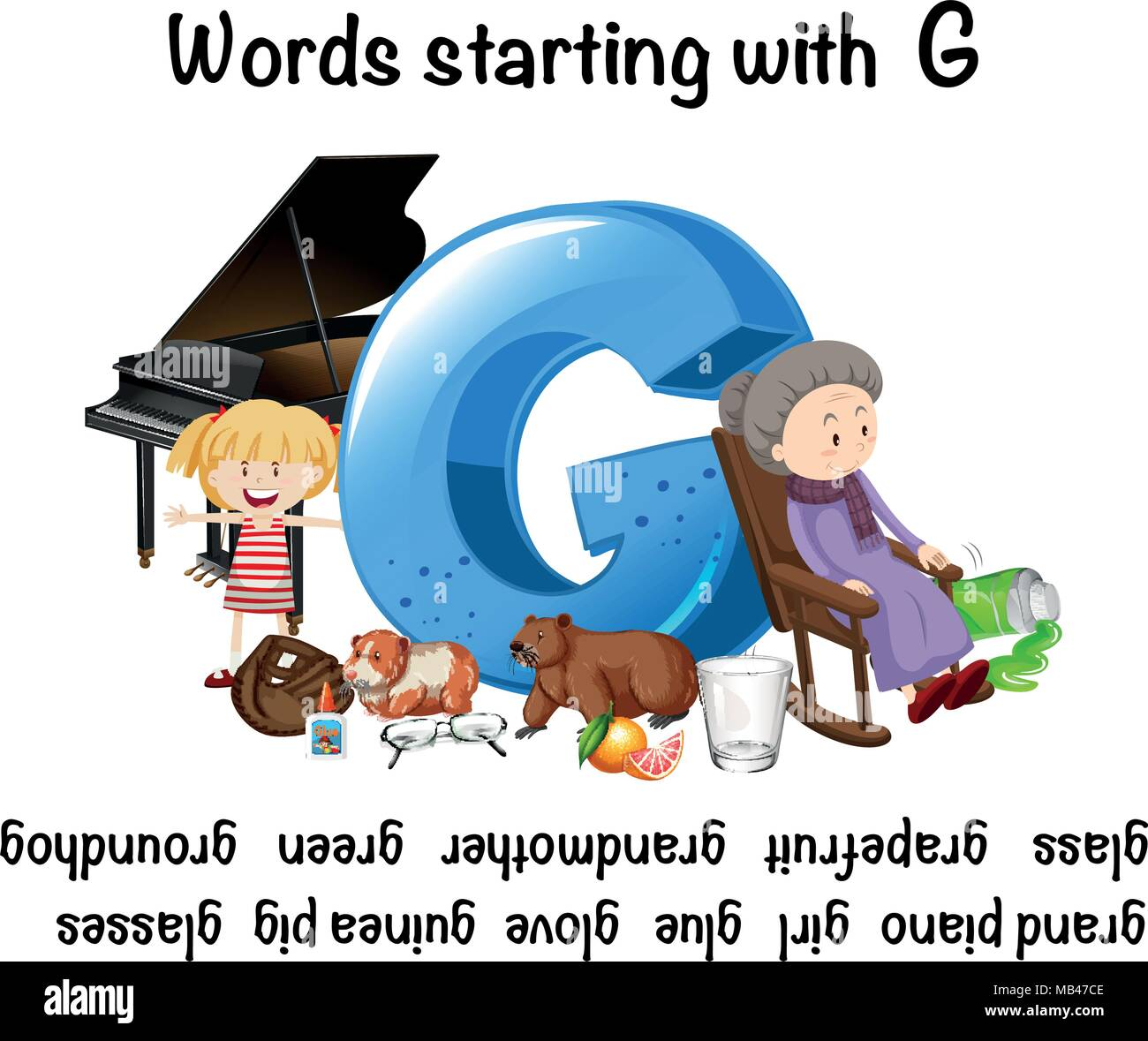 English Words Starting With The Letter G Stock Vector Art