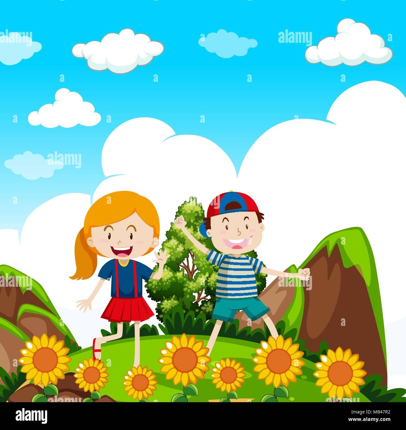 Kids Hiking in nature illustration Stock Vector Art & Illustration ...