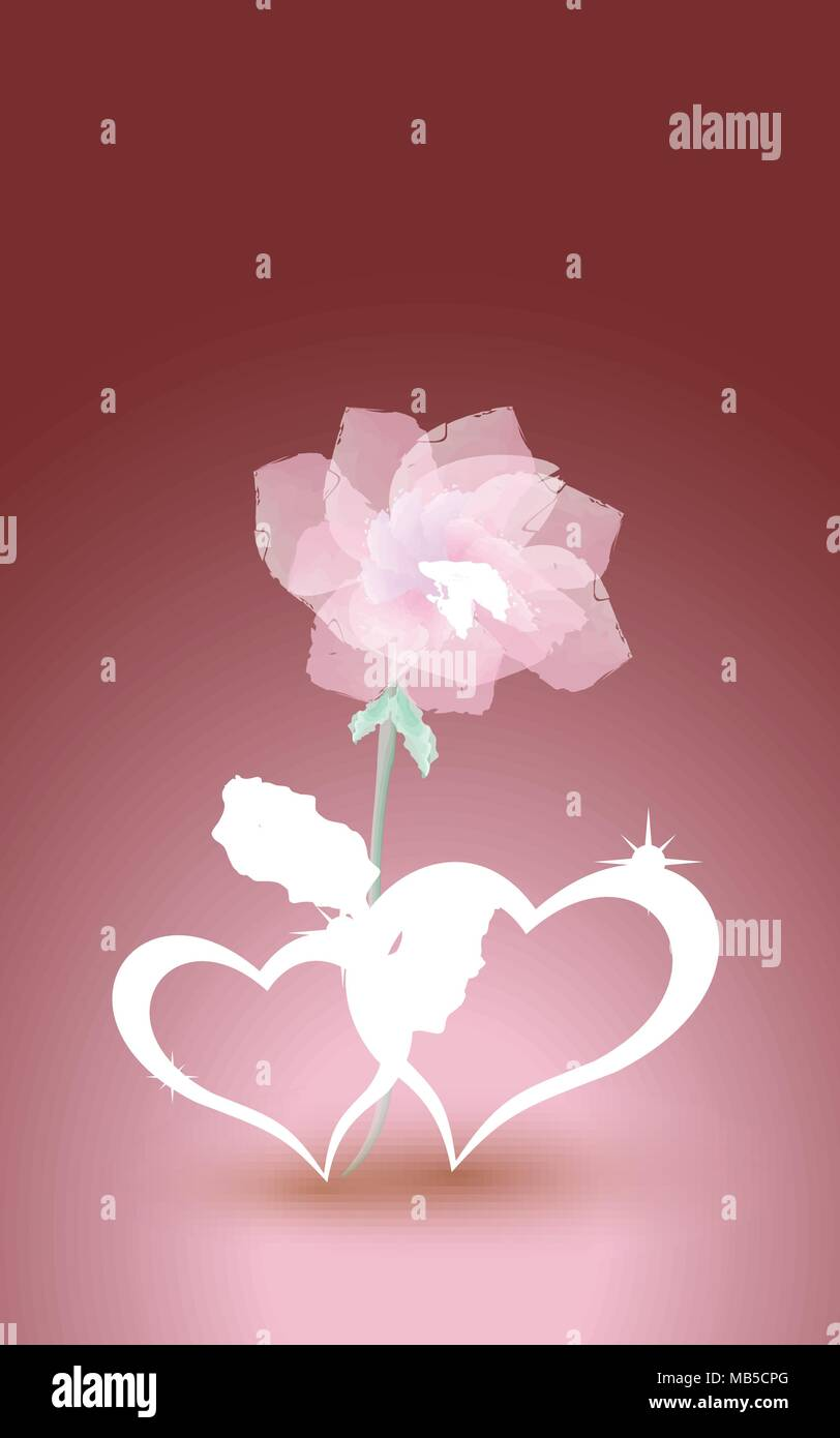 Gold, jewelry hearts with rose. Design for wedding invitations ...