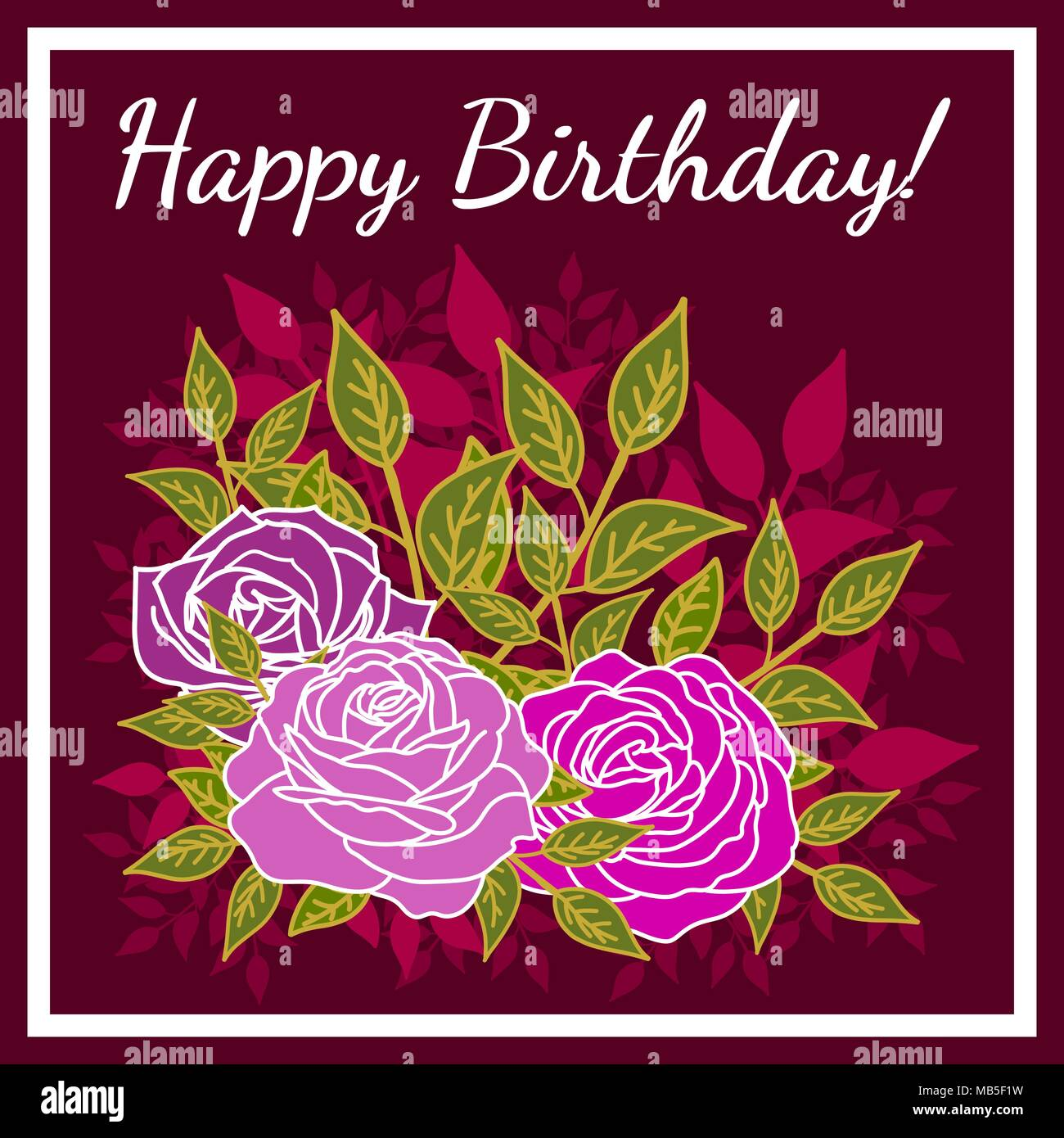 Floral Design With Stylized Roses And Message Of Congratulations For