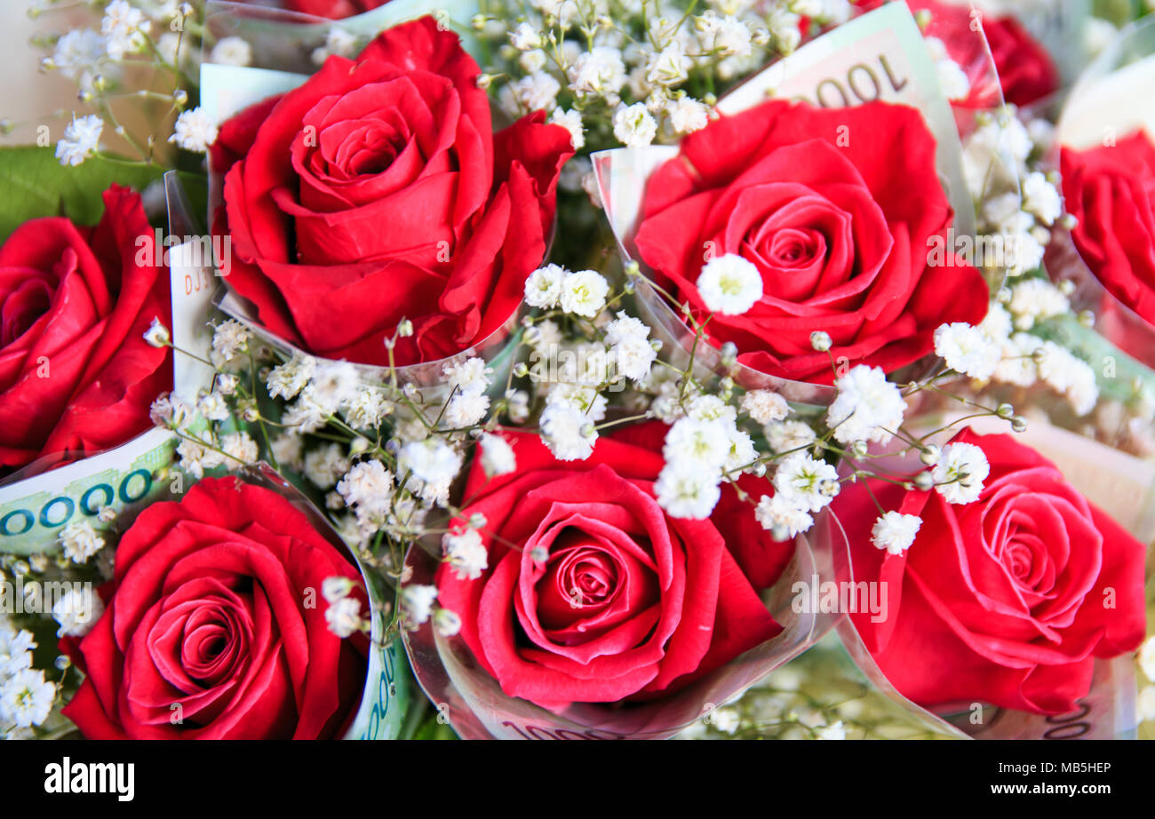 Red rose bouquet with money wrapping rose stock photo 178988398 alamy red rose bouquet with money wrapping rose izmirmasajfo