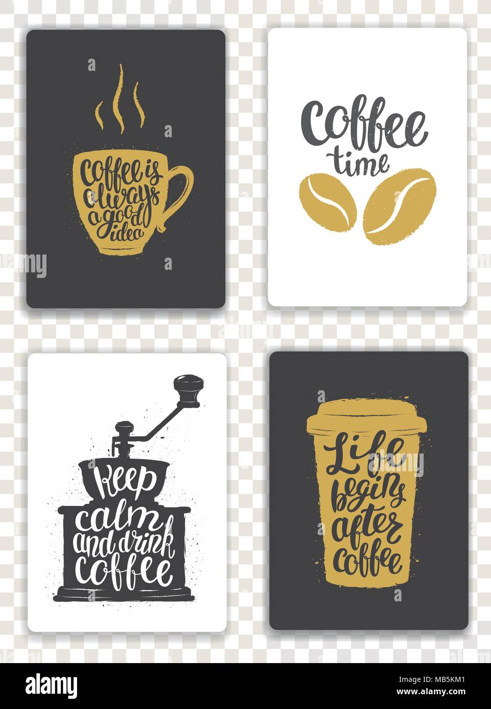 set of modern cards with coffee elements and lettering trendy