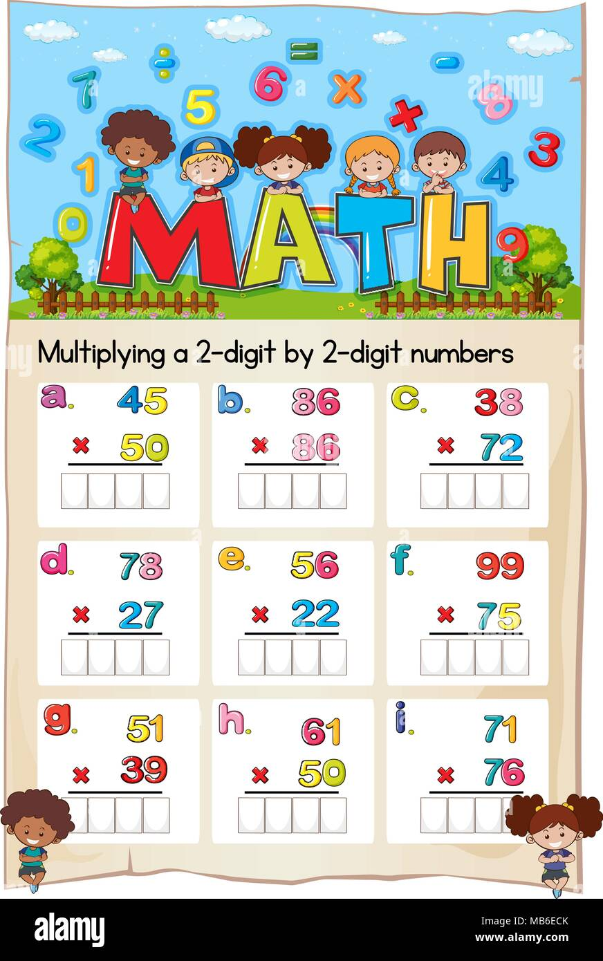 Math Worksheet For Multiply Two Digit By Two Digit Numbers
