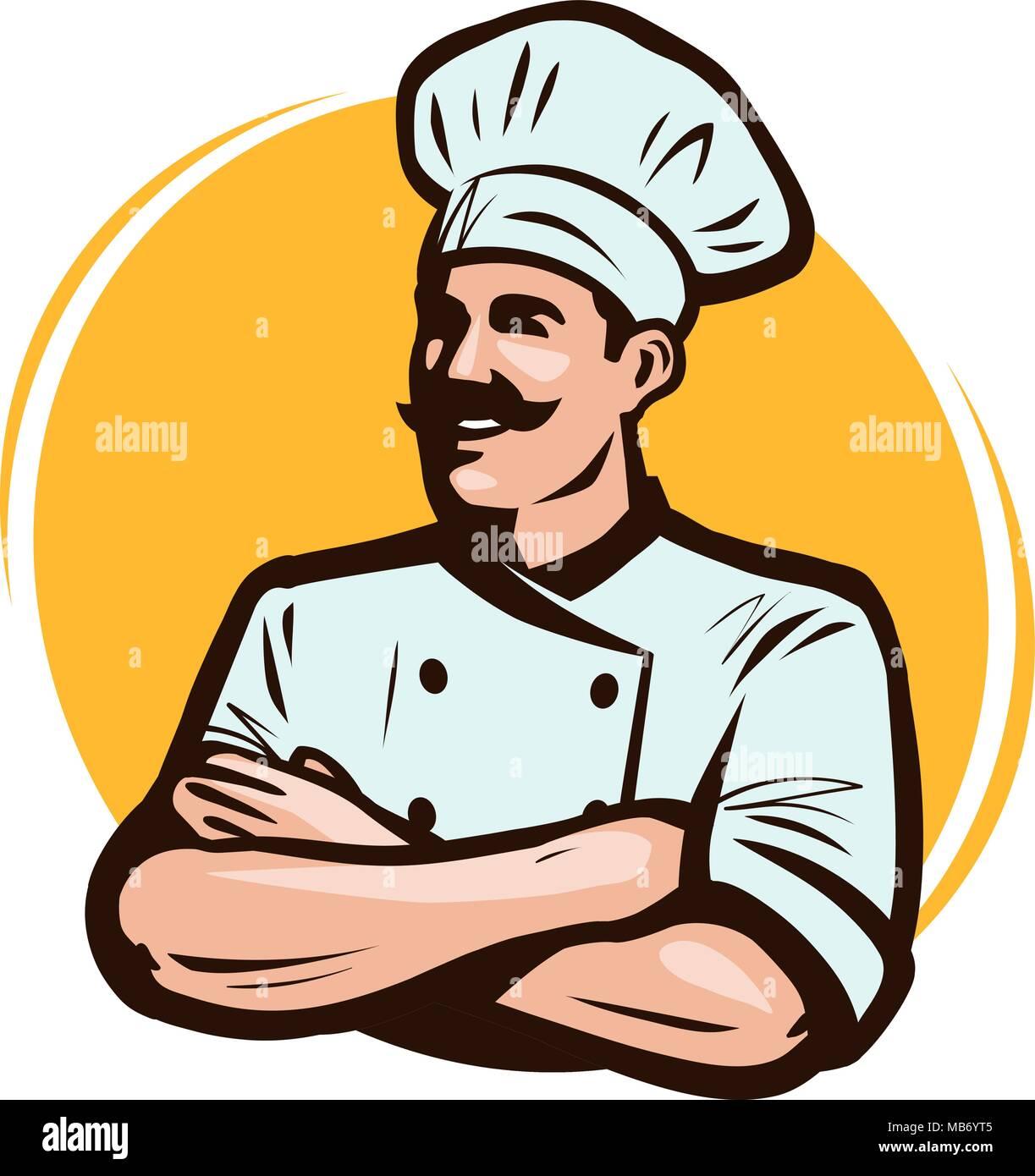 cook chef logo or label restaurant concept cartoon vector