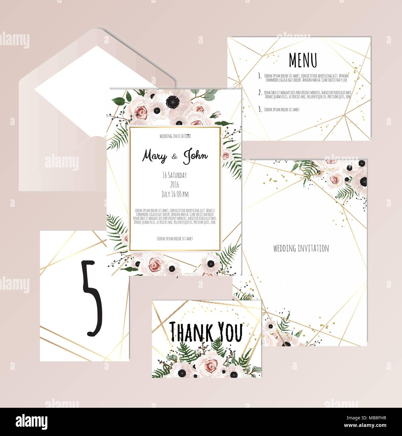 Vector set of vintage floral wedding invitation templates card vector set of vintage floral wedding invitation templates card response save the date thank you table number label and envelope stopboris Image collections