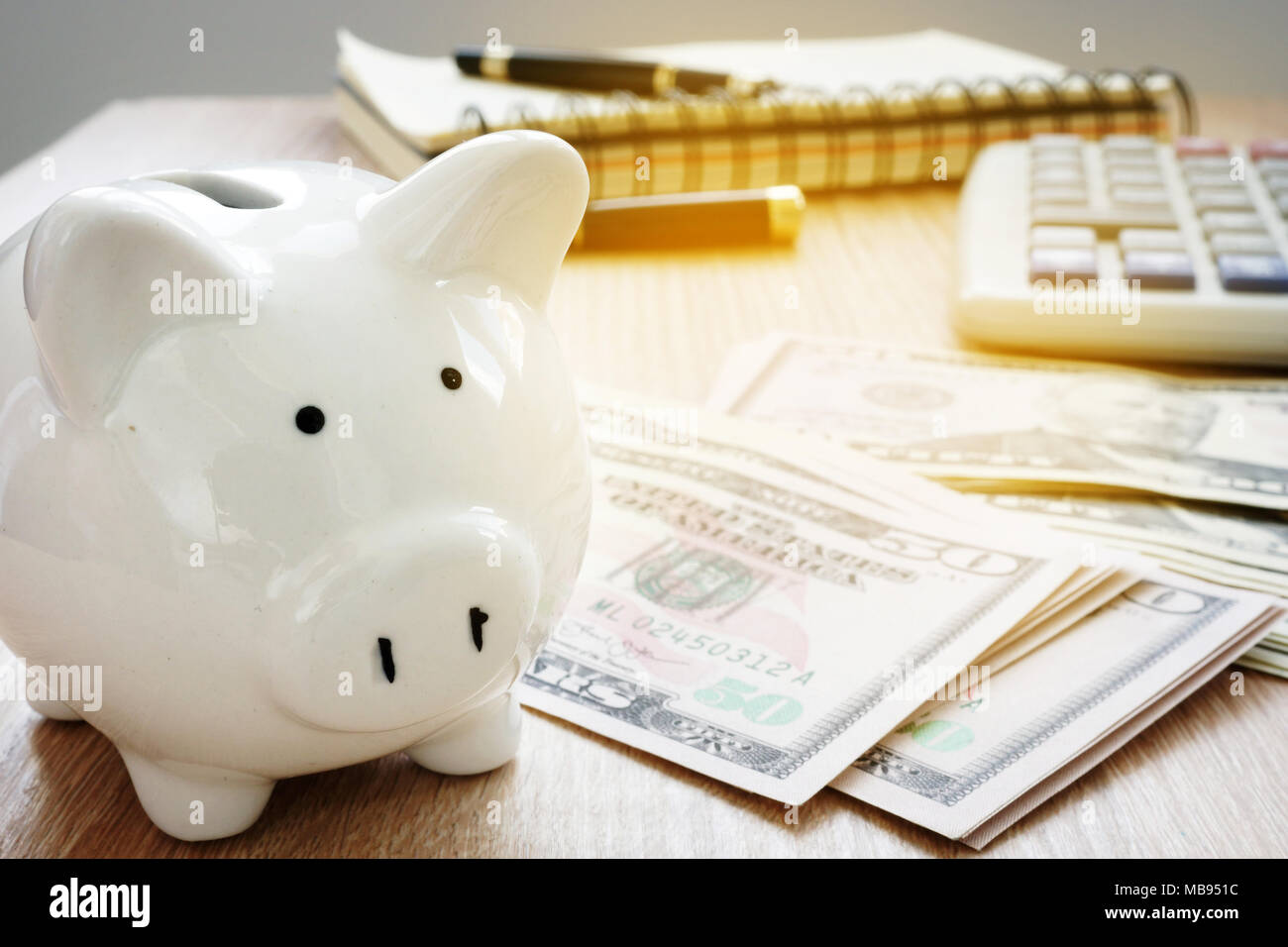 savings or home budget concept calculator dollar bills and piggy