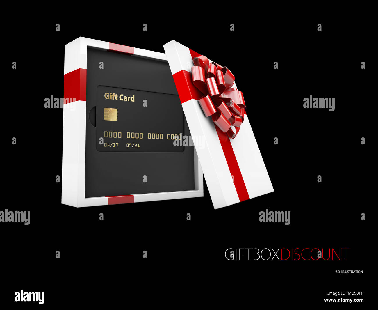 gift cards in the gift box 3d illustration gift or credit card
