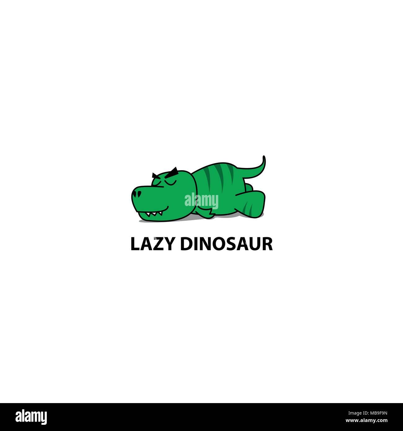 lazy dinosaur funny t rex sleeping icon logo design vector