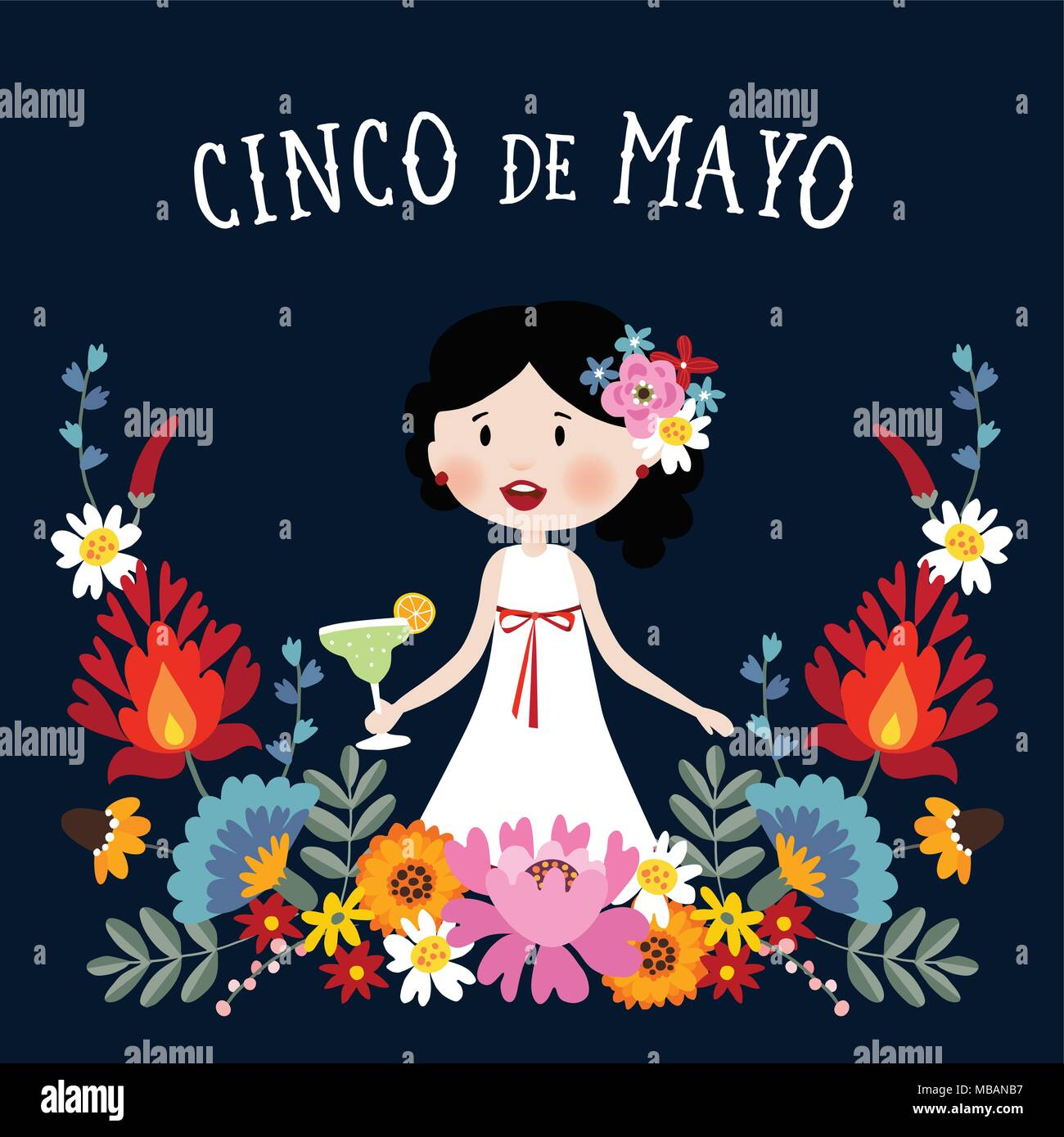 Cinco De Mayo Greeting Card Invitation With Mexican Woman Drinking