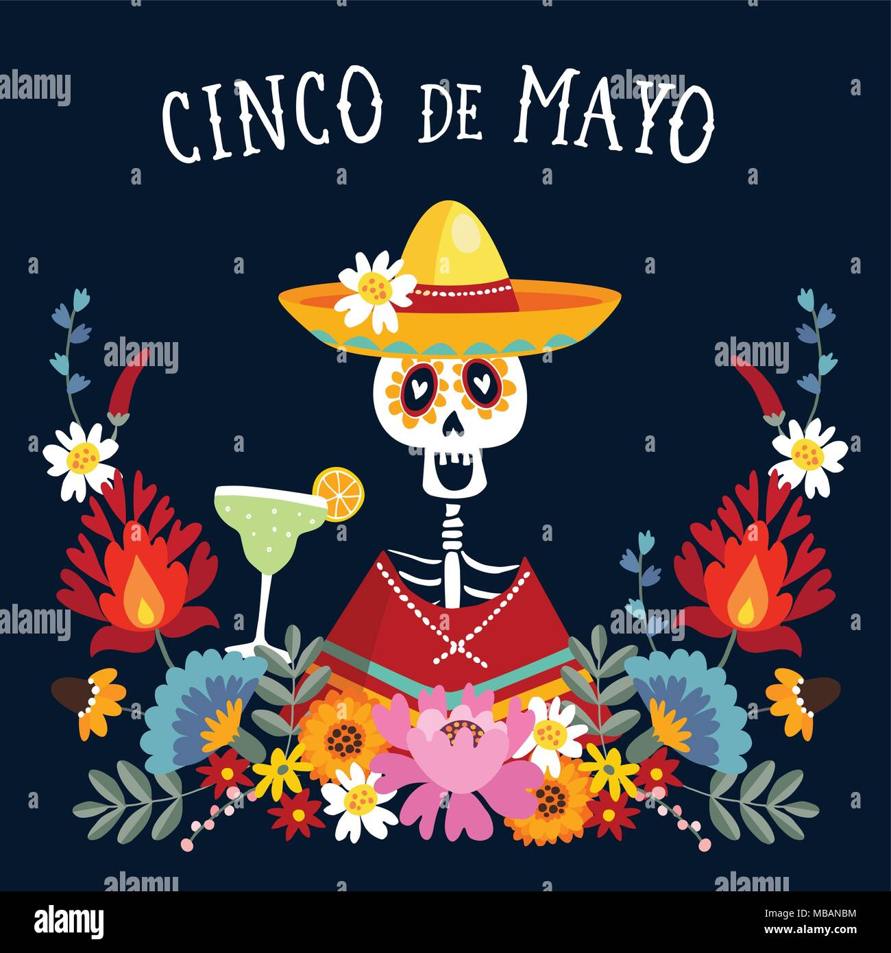 Cinco de mayo greeting card invitation with mexican skeleton with cinco de mayo greeting card invitation with mexican skeleton with sombrero hat drinking margarita cocktail chili peppers and decorative folklore flo m4hsunfo