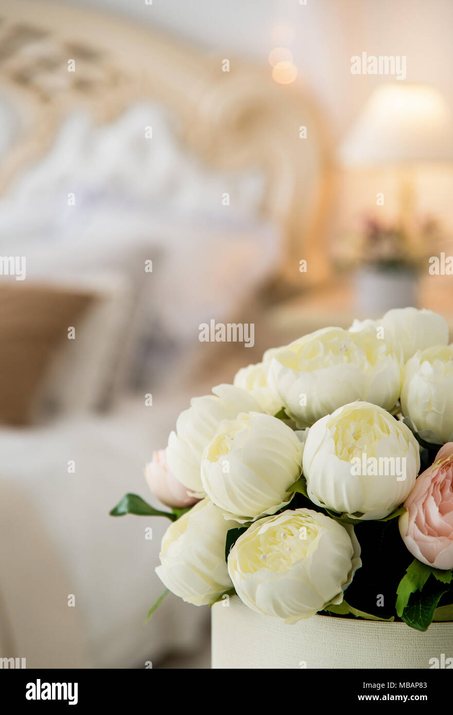 Wedding Flowers Bridal Bouquet In White Classic Bedroom Stock Photo