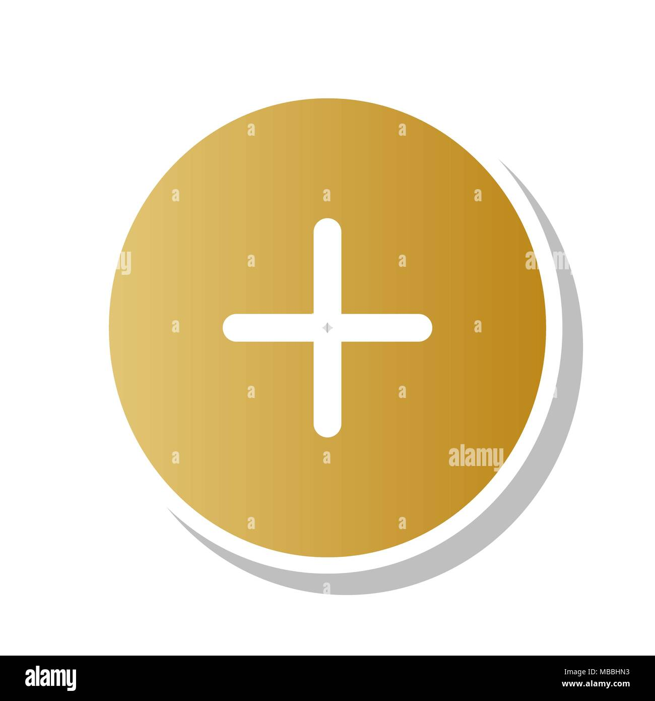 Positive Symbol Plus Sign Vector Golden Gradient Icon With White