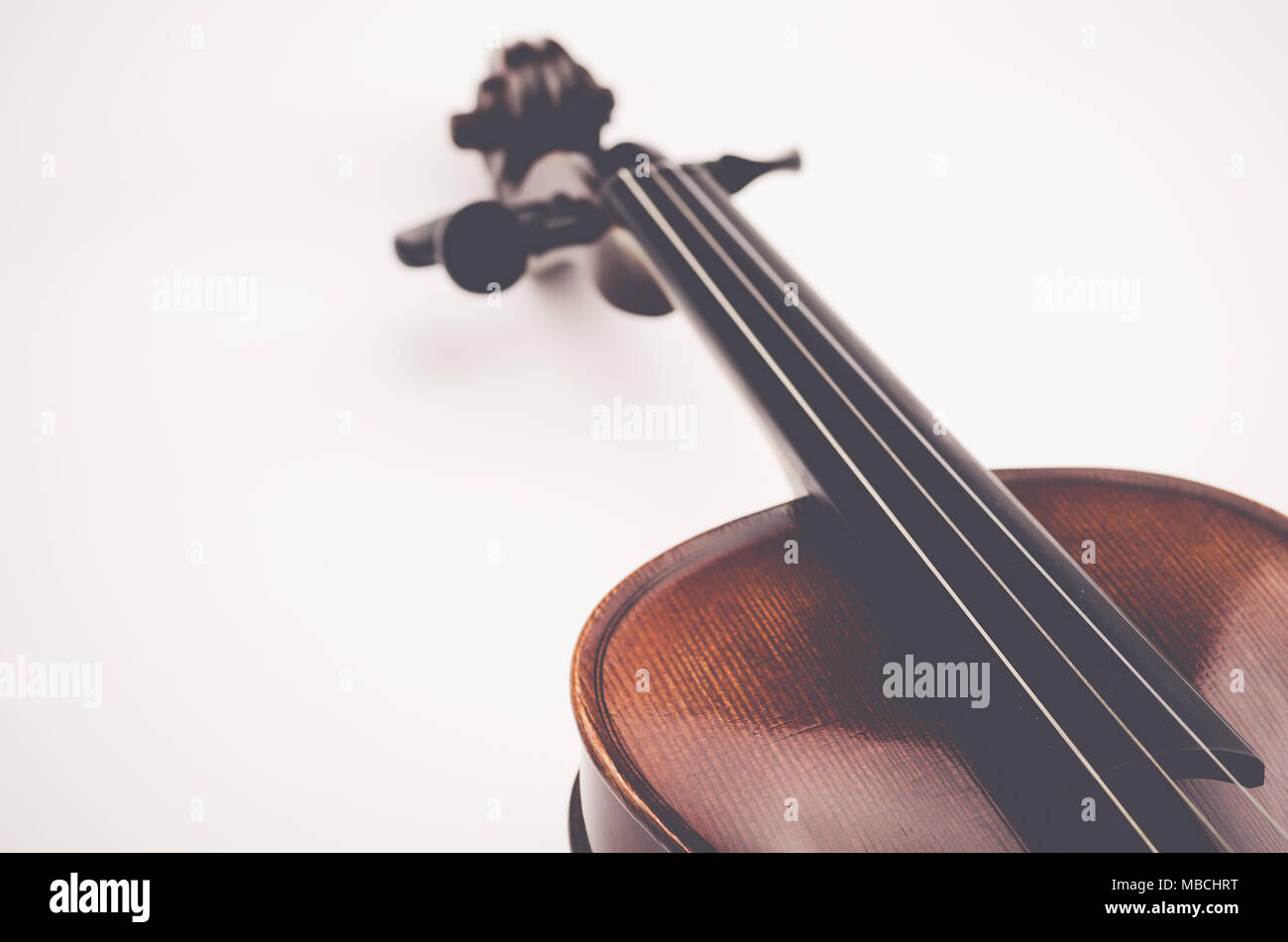 Violin Body Parts Neck And Scroll Perspective On A White Background