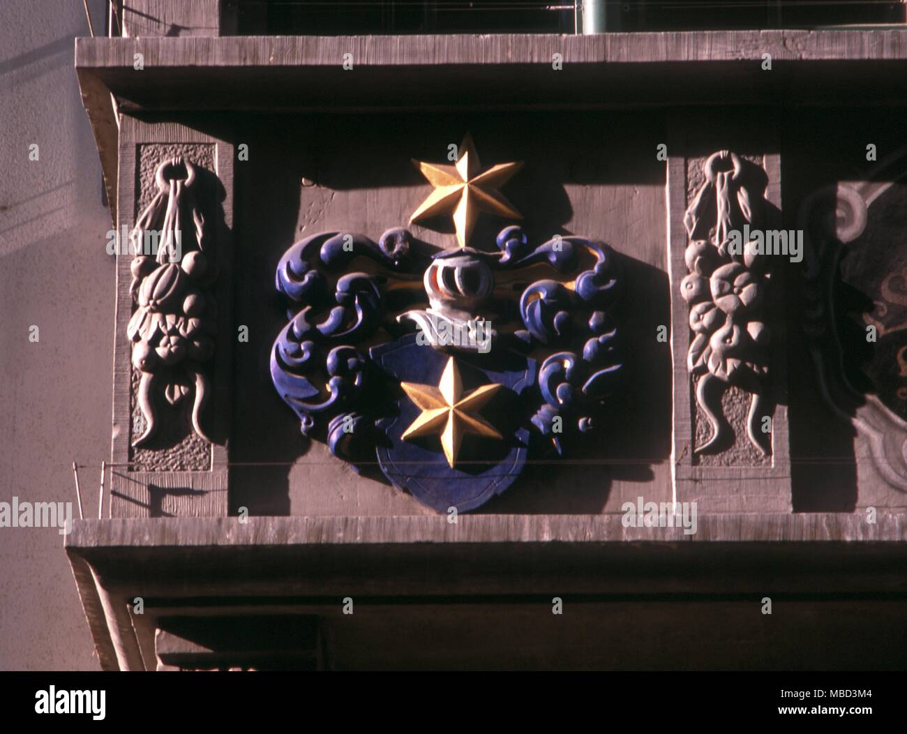 Symbols Stars Wood Carving As A Heraldic Device On A Medieval