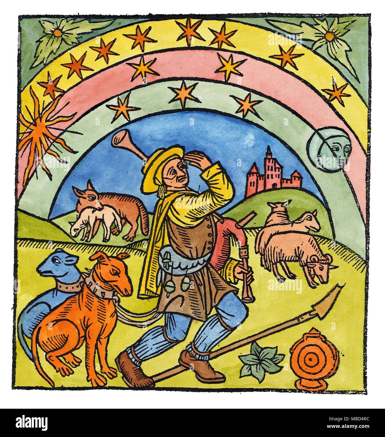 Stars Shepherd Sun Moon Shepherd With His Dogs And Bagpipe