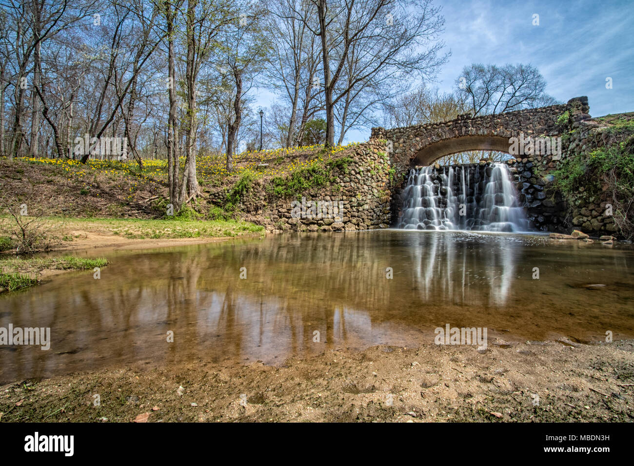 Waterfall Bridge at Reynolda Gardens in Winston-Salem, North ...