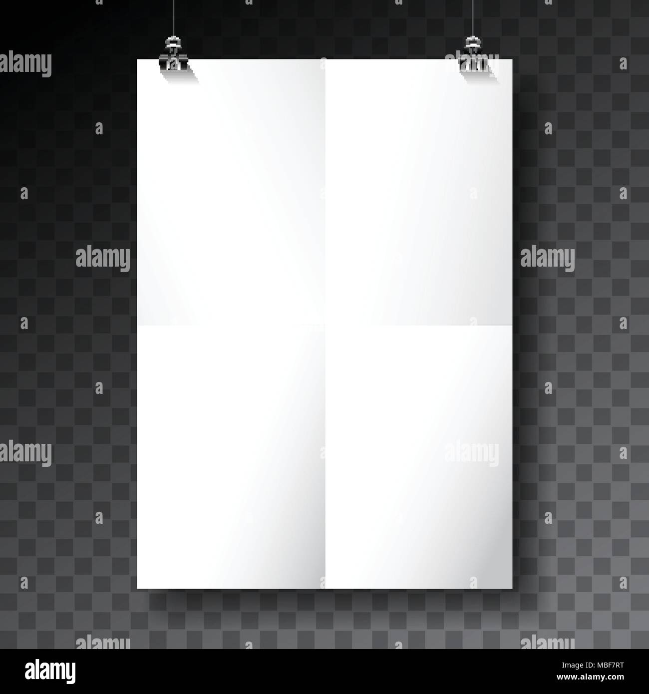 Vector Poster Mockup Template With Folded Paper Sheet On Transparent