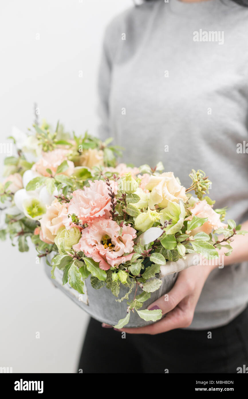 flower arrangement. beautiful luxury bouquet of mixed flowers in ...