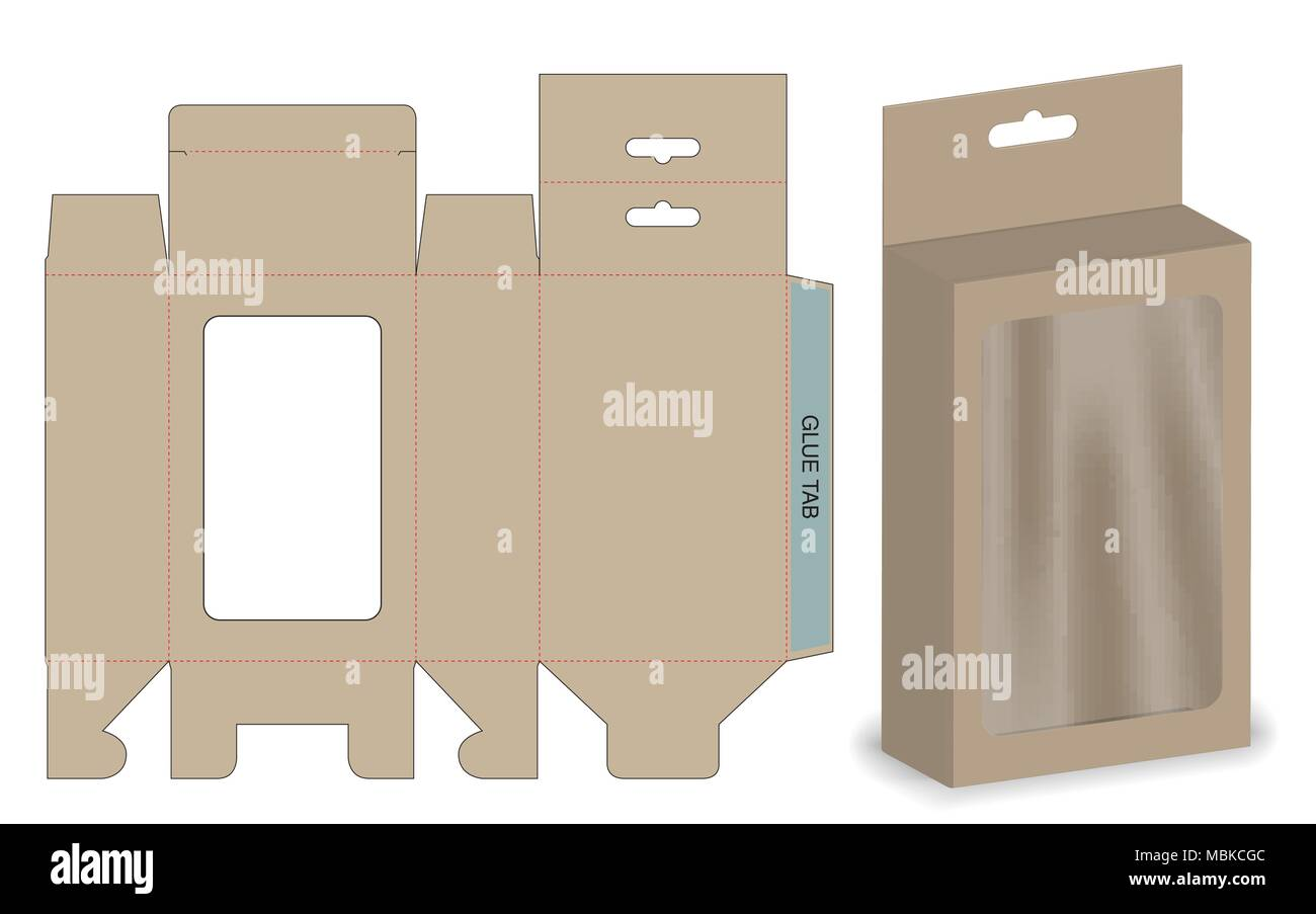 Box packaging die cut template design. 3d mock-up Stock Vector Art ...