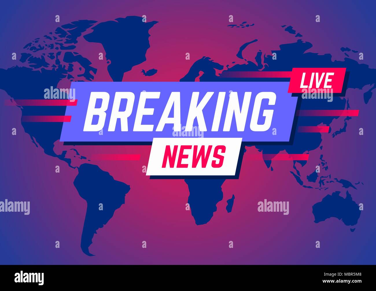Breaking News Broadcast And Live On World Map Background Vector Illustration