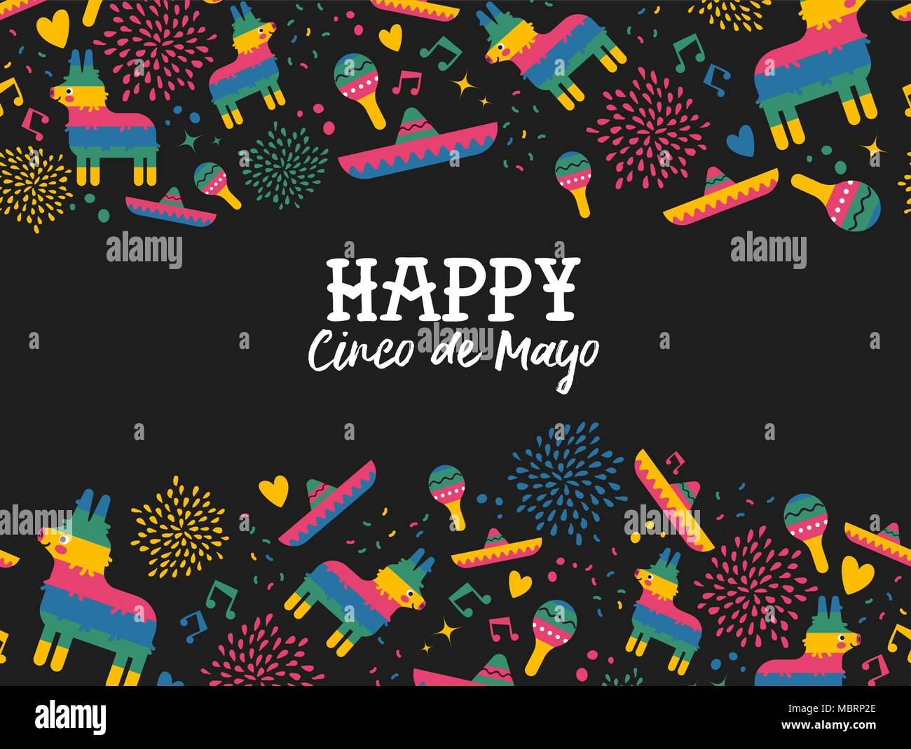 happy cinco de mayo greeting card illustration with pattern
