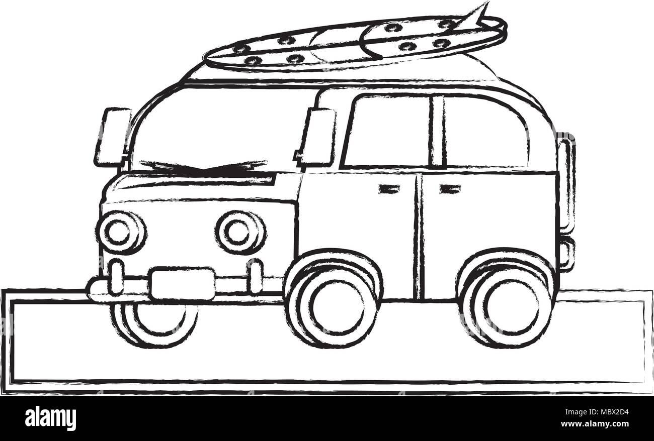 2b33543af7 sketch of surf van icon over white background