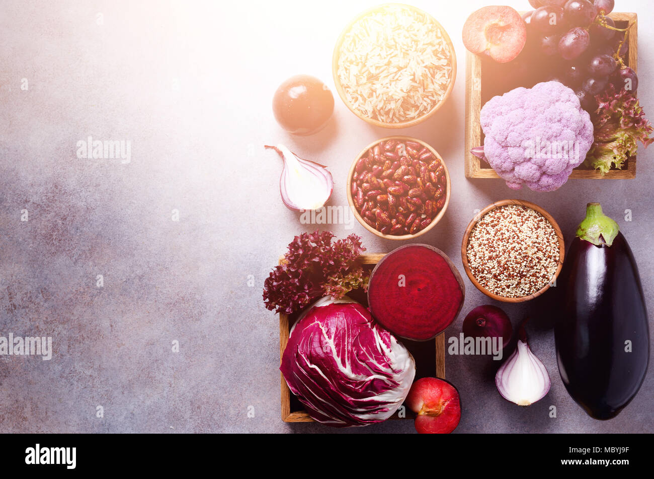 Violet Eggplant, Beets, Cauliflower, Purple Beans, Plums, Onion, Cabbage,  Grape, Quinoa, Rice. Ingredients For Cooking, Copy Space, Top View, Flat Lay