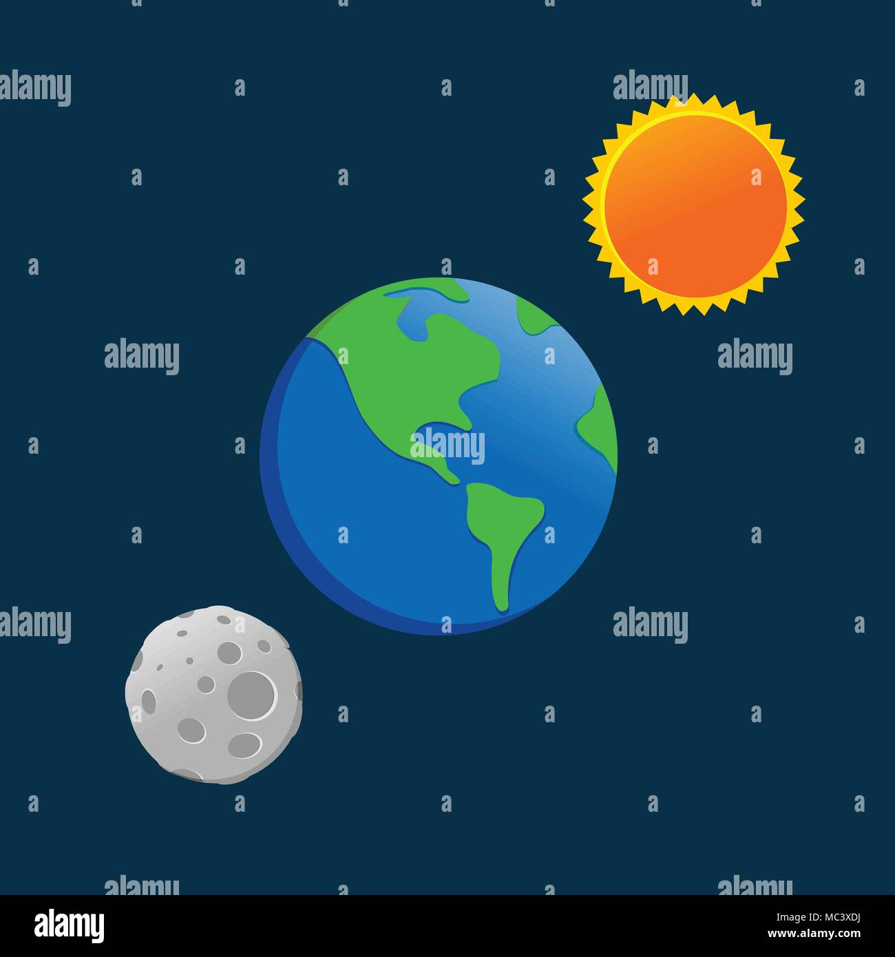 Earth Sun Moon Cartoon Drawing Vector Symbol Graphic Logo Design