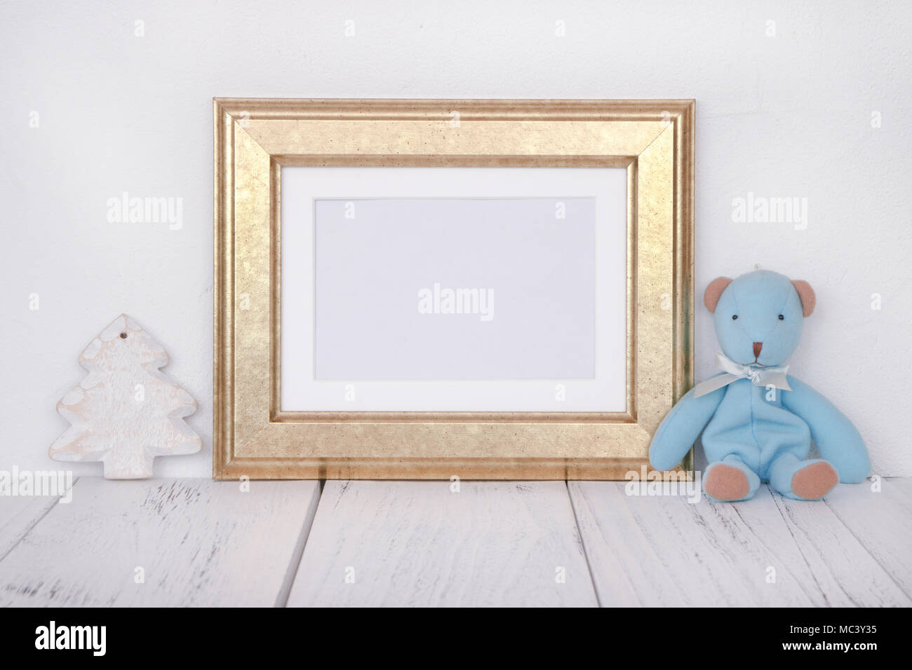 Stock photography golden picture frame cute blue bear Christmas tree ...