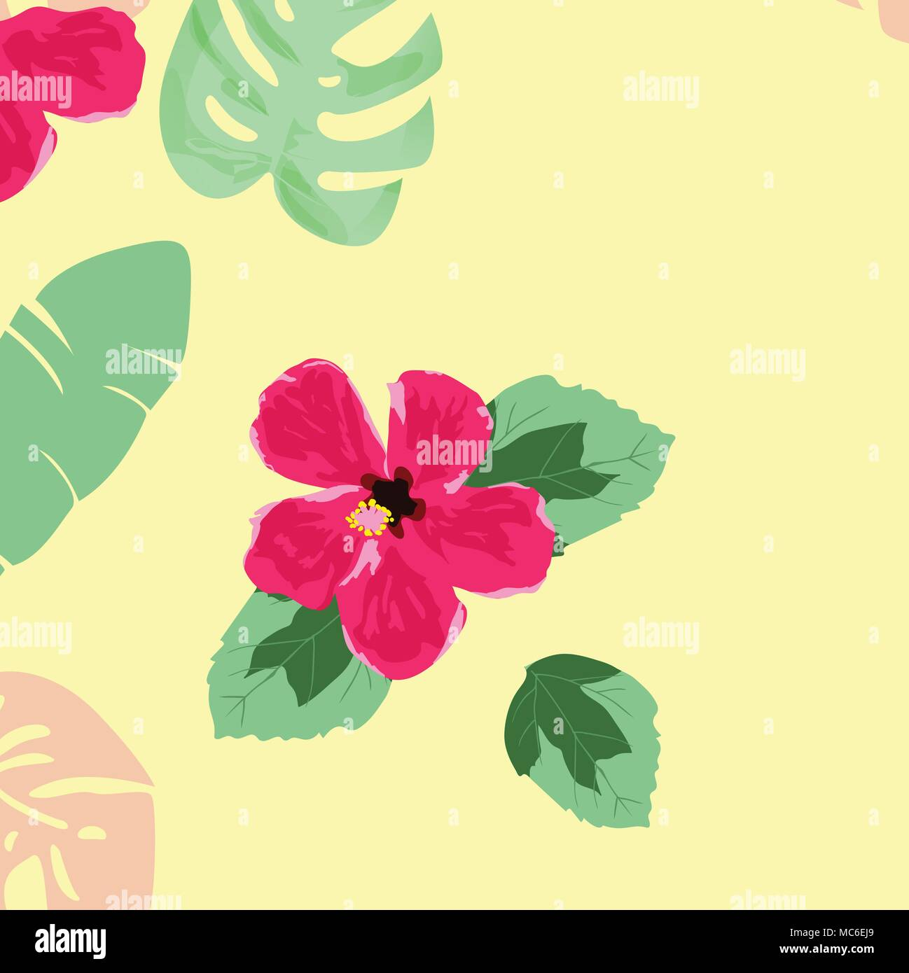 Hand draw hibiscus flower and tropical leaves seamless pattern stock hand draw hibiscus flower and tropical leaves seamless pattern izmirmasajfo