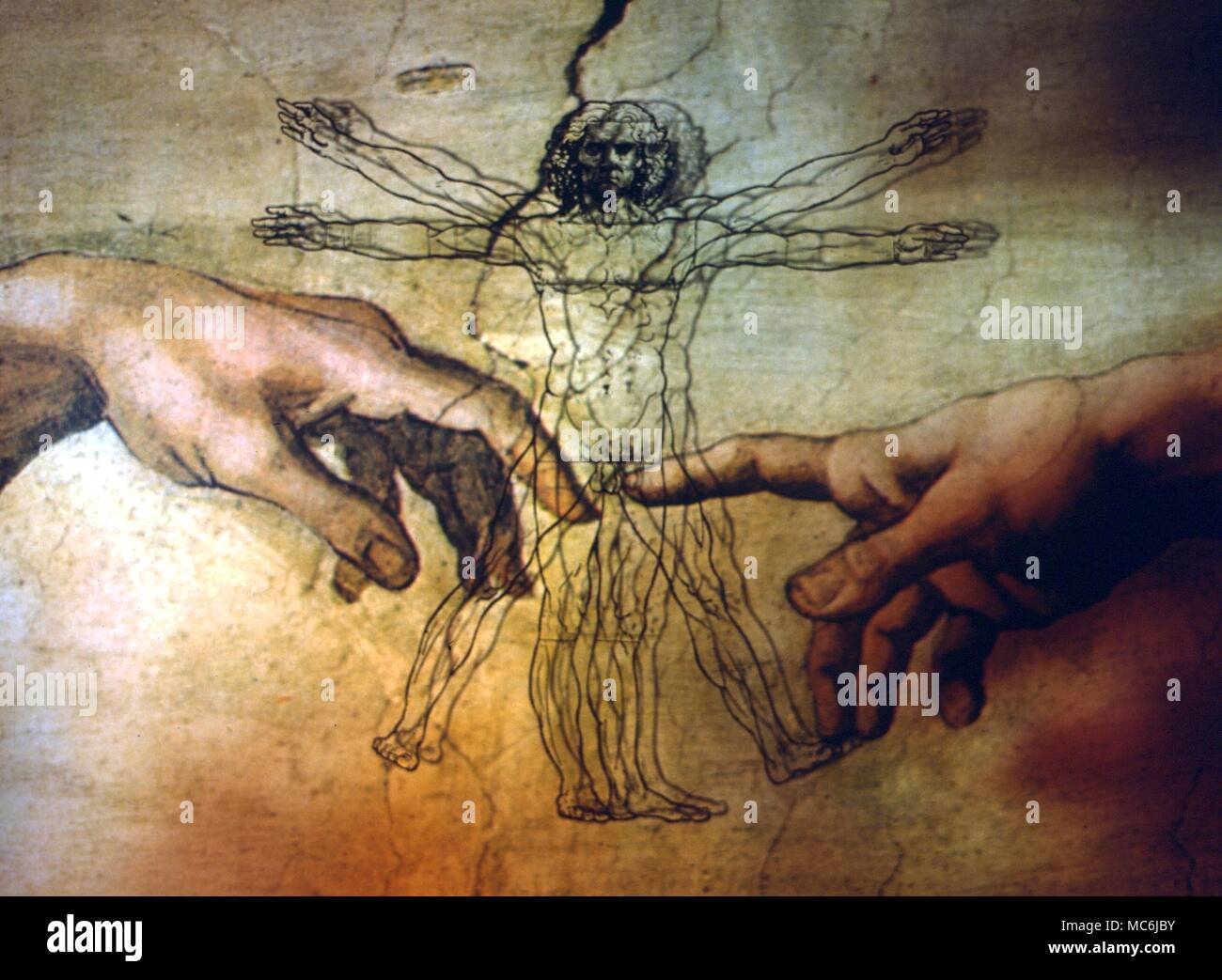 Art fantasy based on the combination of the famous geometric man of leonardo da vinci and the creative hand of god by michelangelo