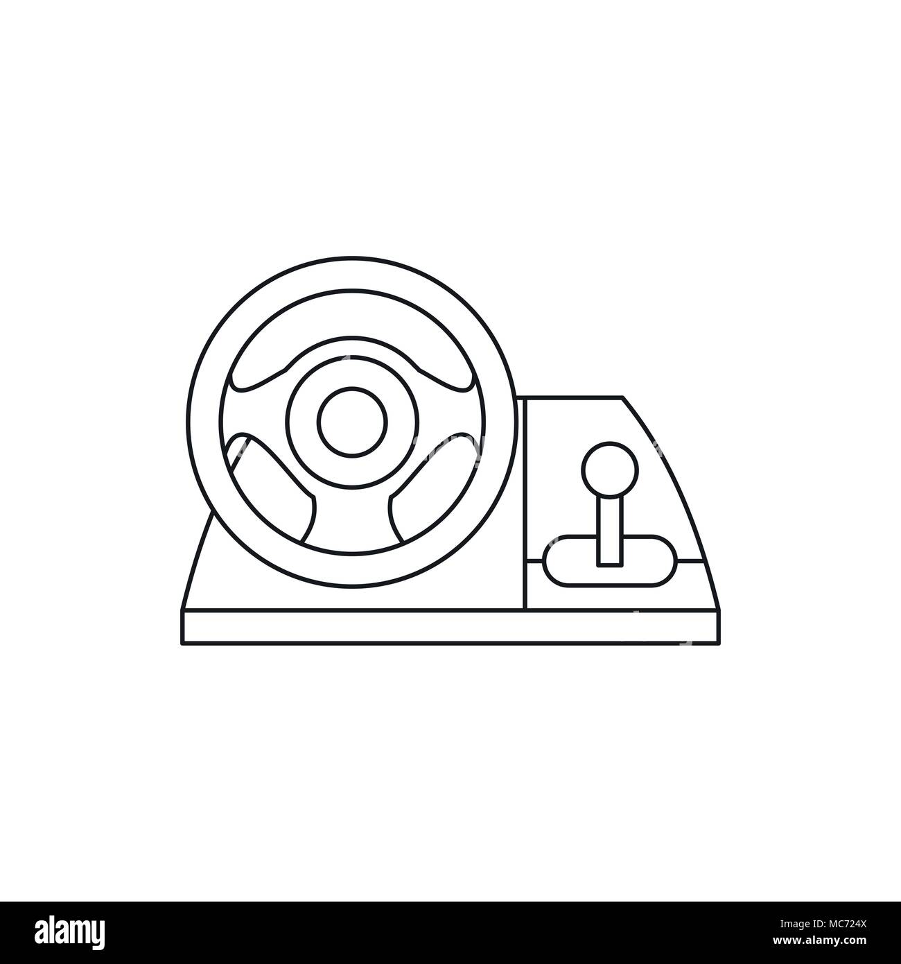 Game Controller Wheel Icon Outline Style Stock Vector Art - Game outline