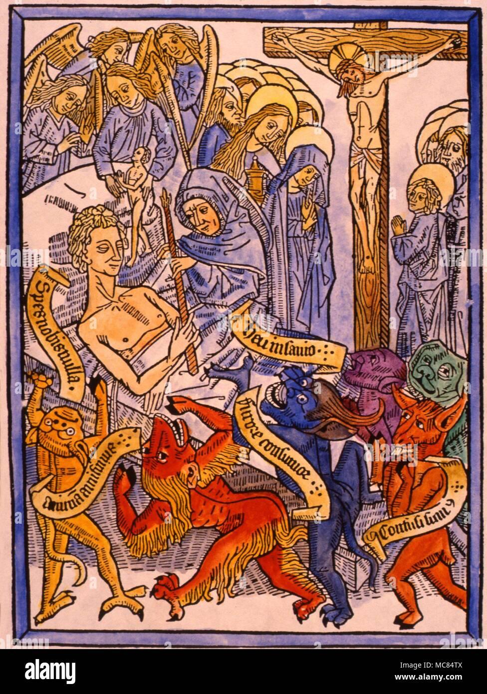 german woodblock ars moriendi of circa 1470 depicting a deathbed