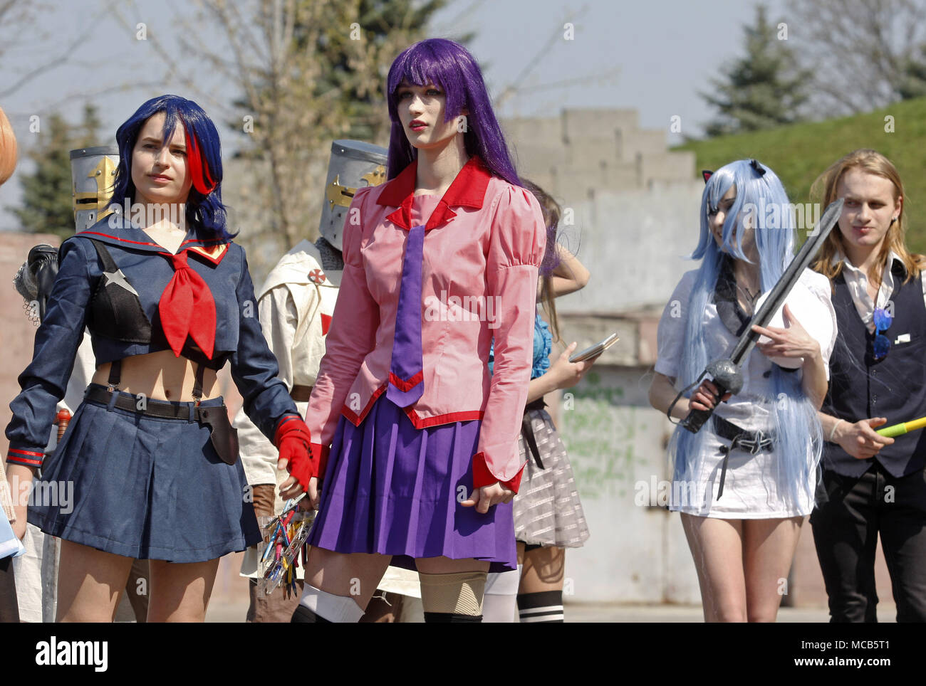 Participants dressed in costumes of anime characters attend anime march in center of kiev ukraine on 15 april 2018 the event attracts anime manga