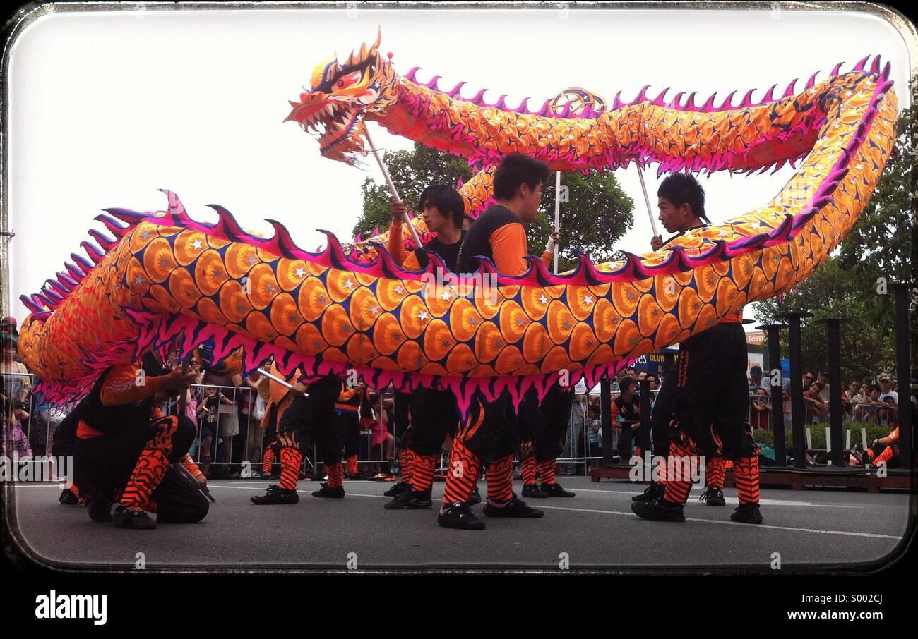 Chinese New Year dragon dance, Melbourne, Australia Stock ...