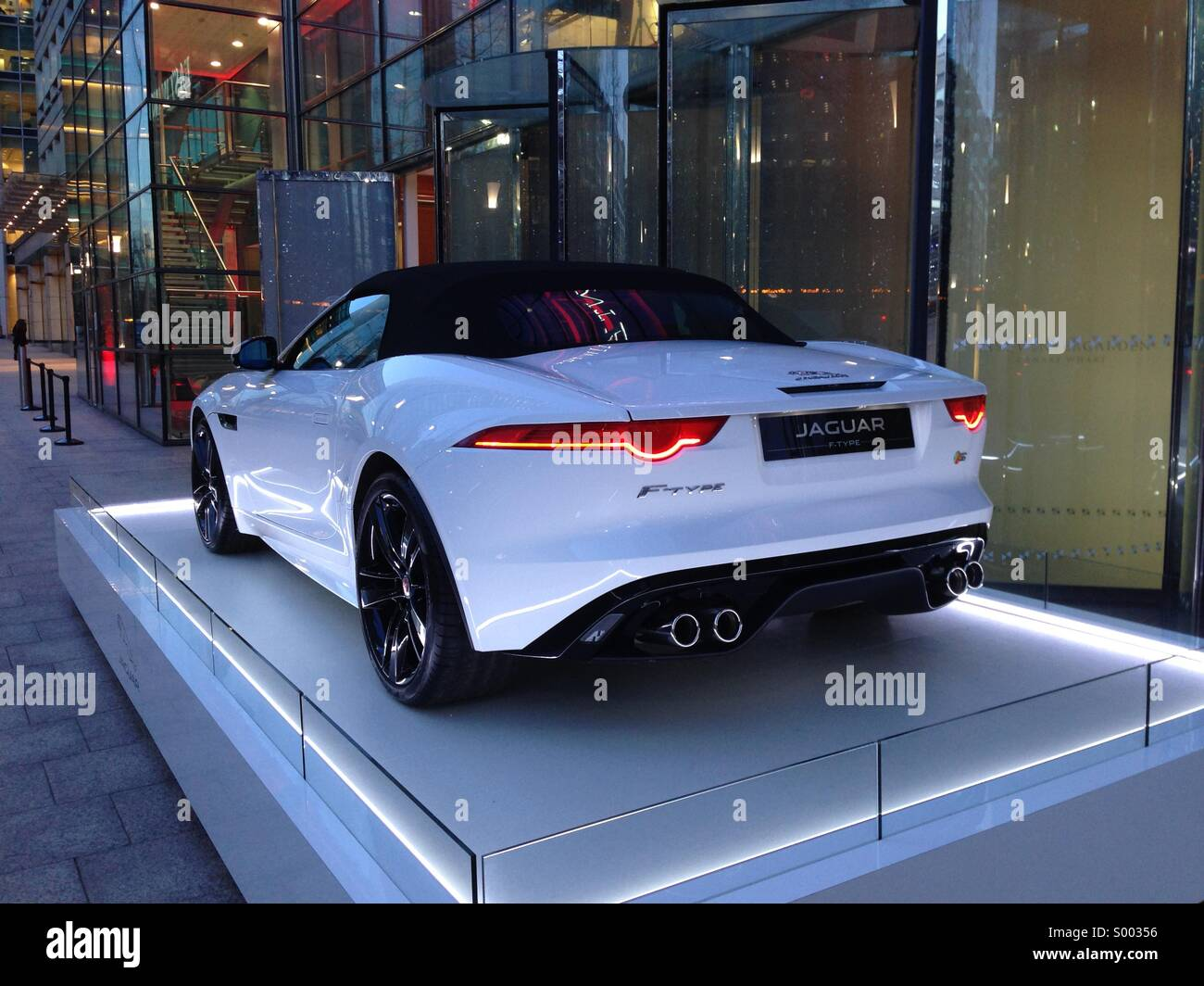 the new f type jaguar outside east winter gardens canary wharf