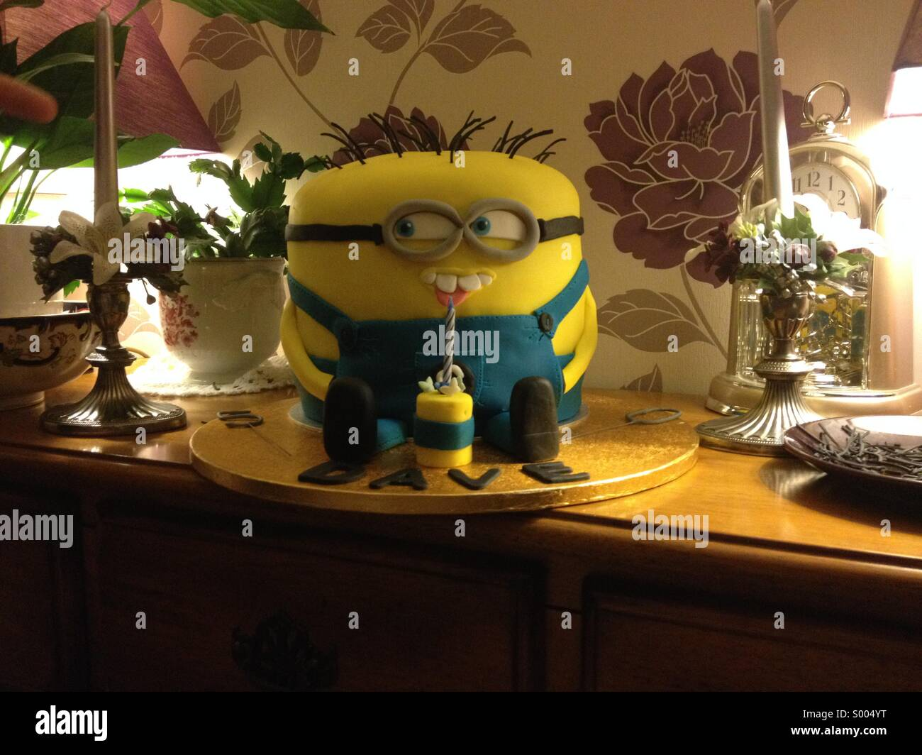 Minion Dave birthday cake Stock Photo Royalty Free Image