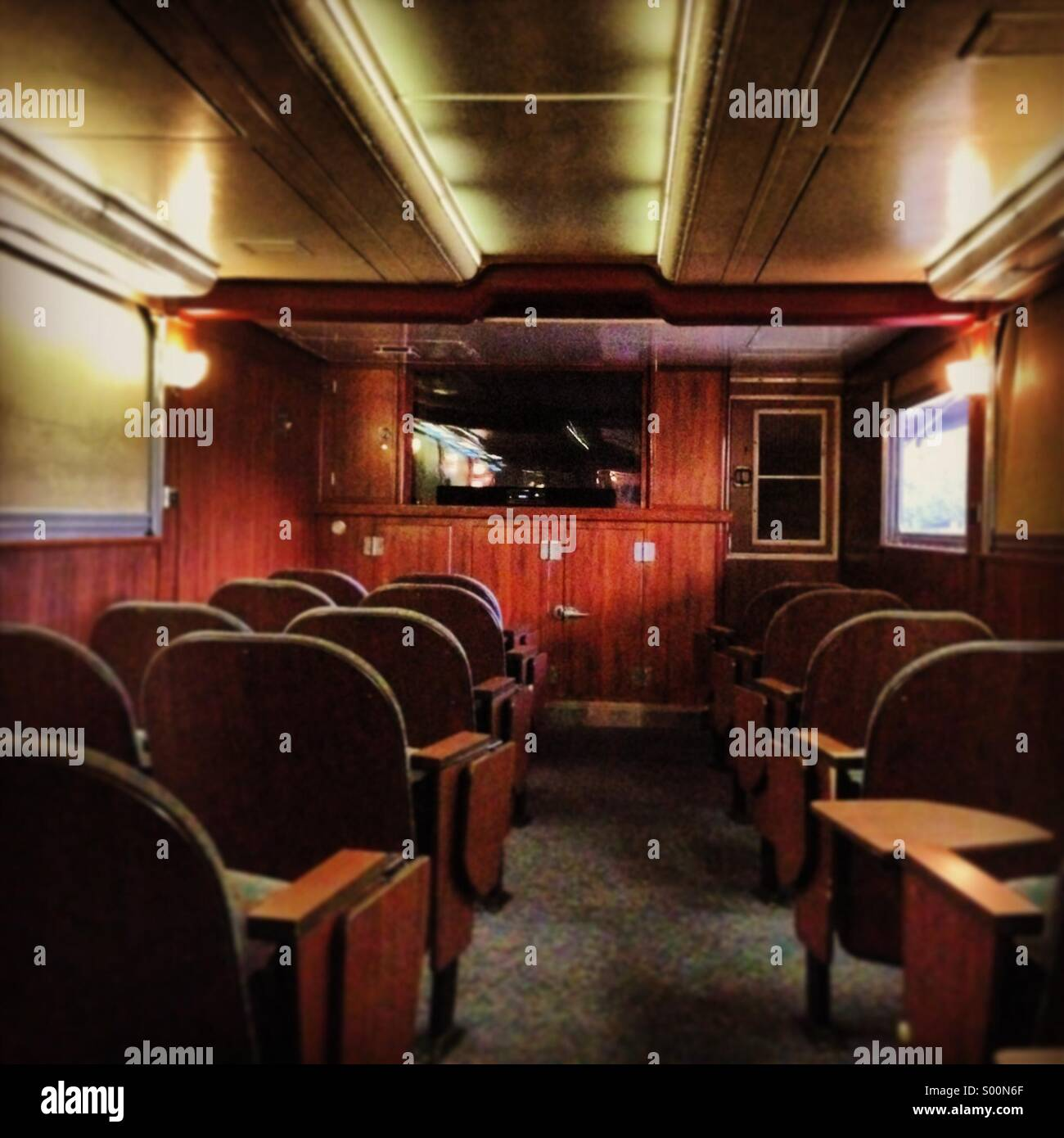theater on pullman car on amtrak train stock photo royalty free image 309803271 alamy. Black Bedroom Furniture Sets. Home Design Ideas