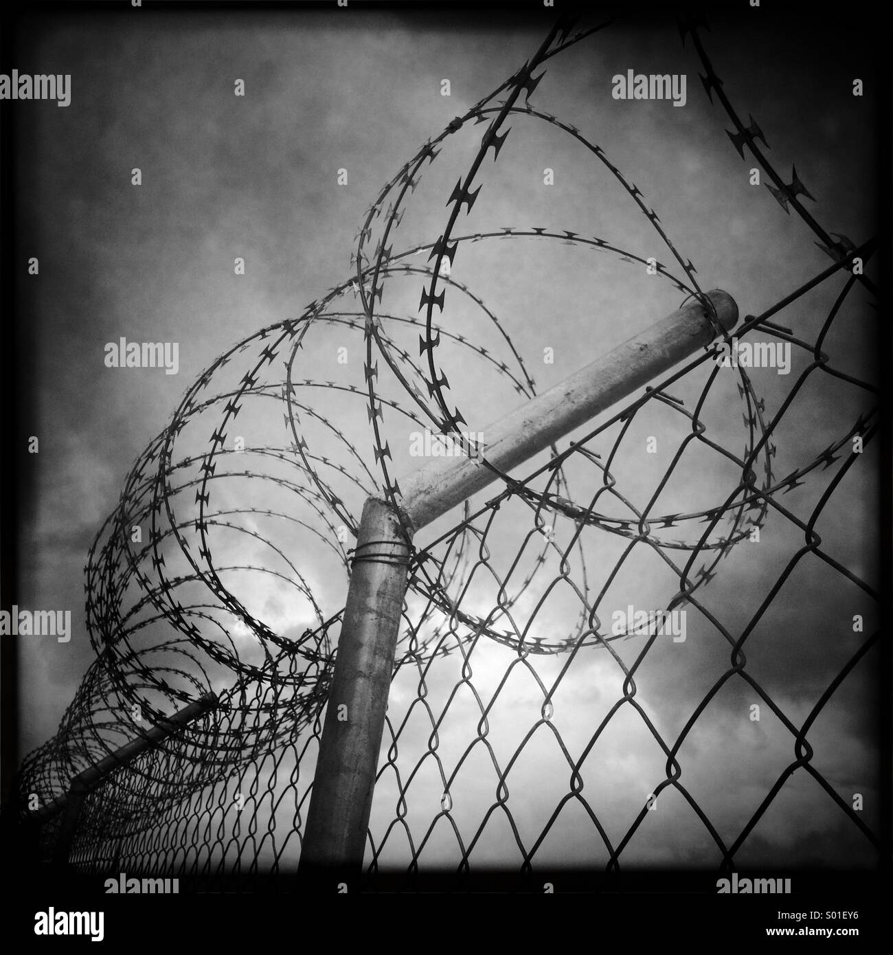 Black and white photo from a prison fence with barbed wire