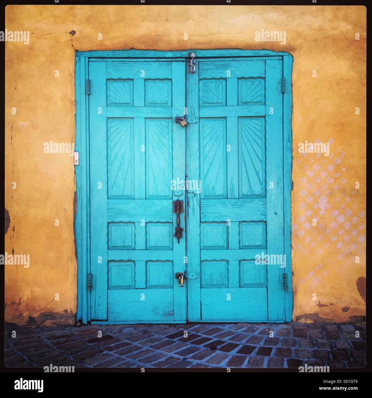 Stock Photo - The colors of New Mexico: turquoise door in Old Town Albuquerque & The colors of New Mexico: turquoise door in Old Town Albuquerque ... Pezcame.Com