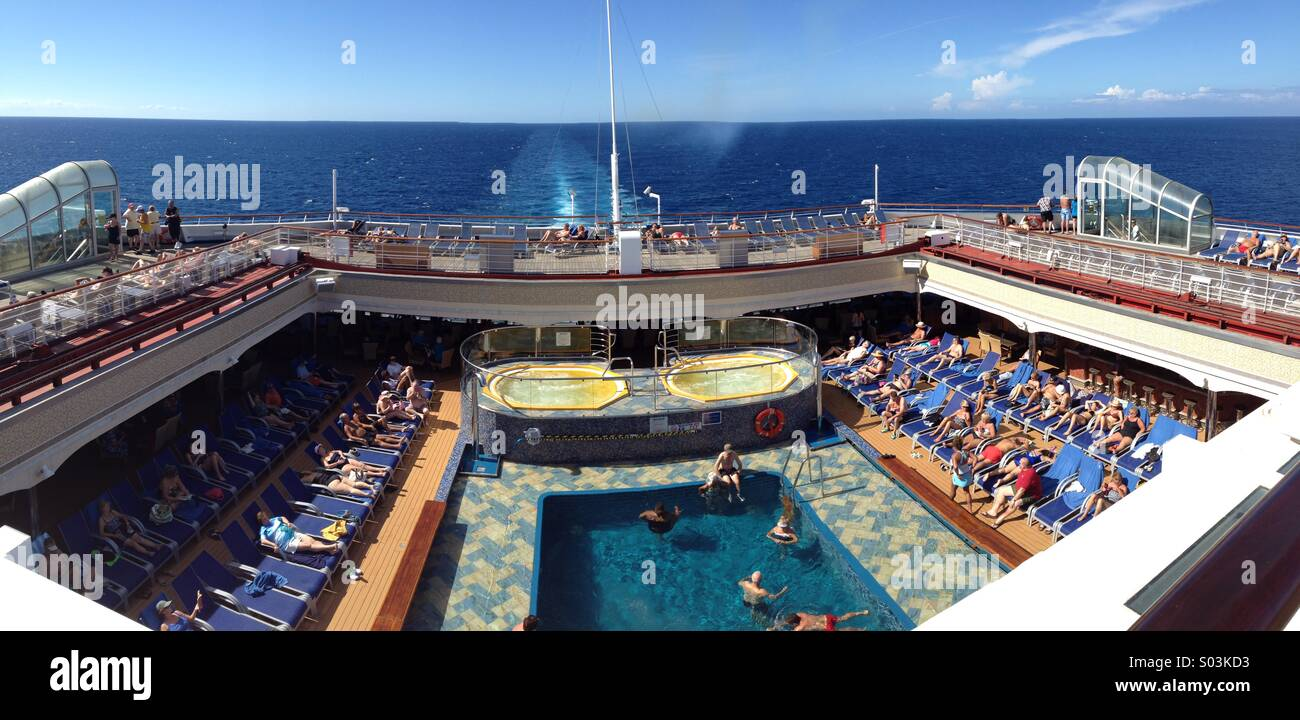 Aft Deck Of Cruise Ship In The Caribbean Stock Photo Royalty Free - What is aft on a cruise ship