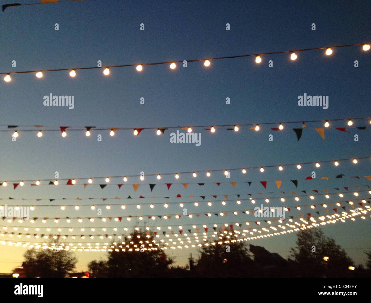 String Lights At Night : Night time strings of party lights Stock Photo, Royalty Free Image: 309885911 - Alamy