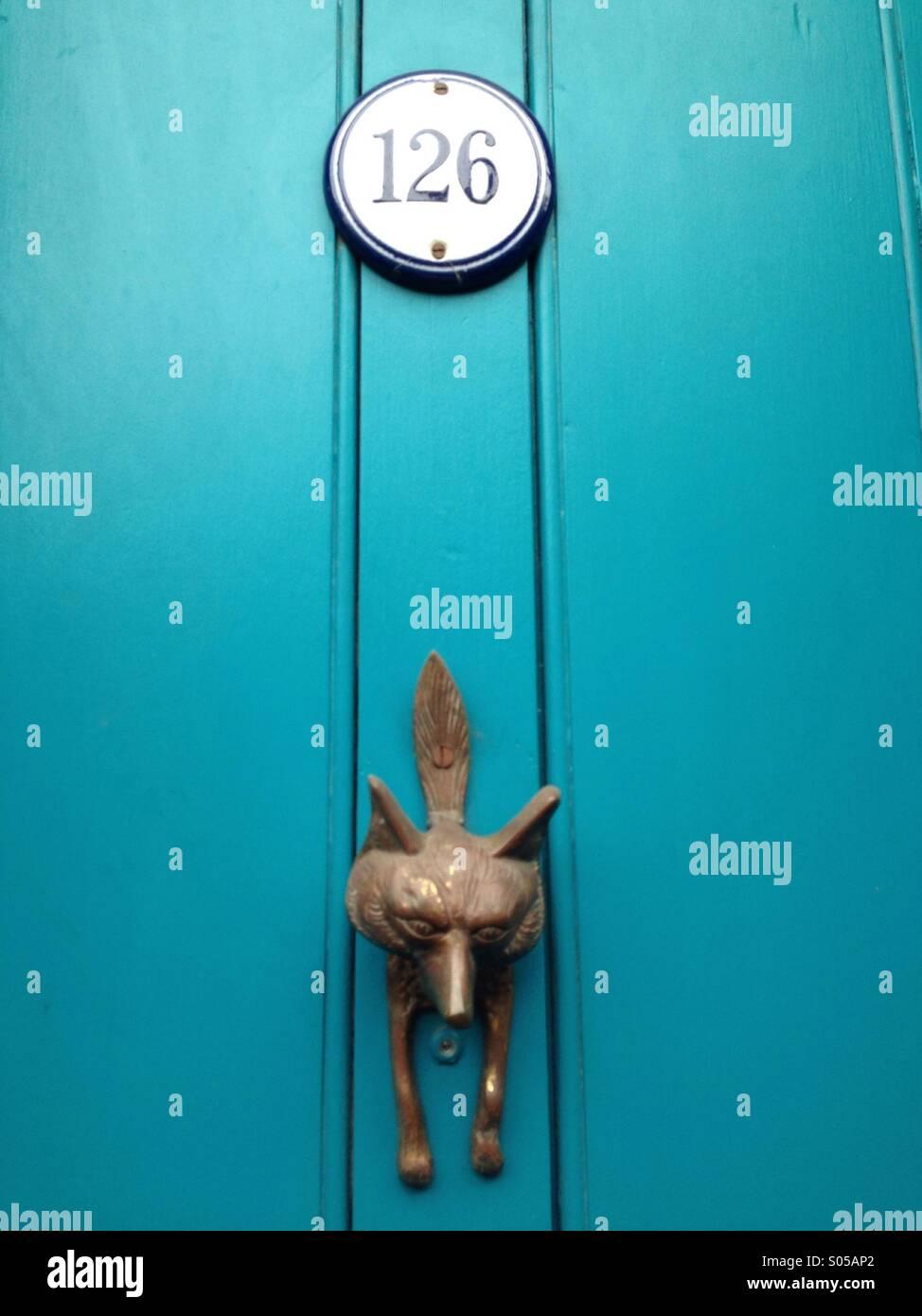 Fox Door Knocker On A Blue Door, Number 126