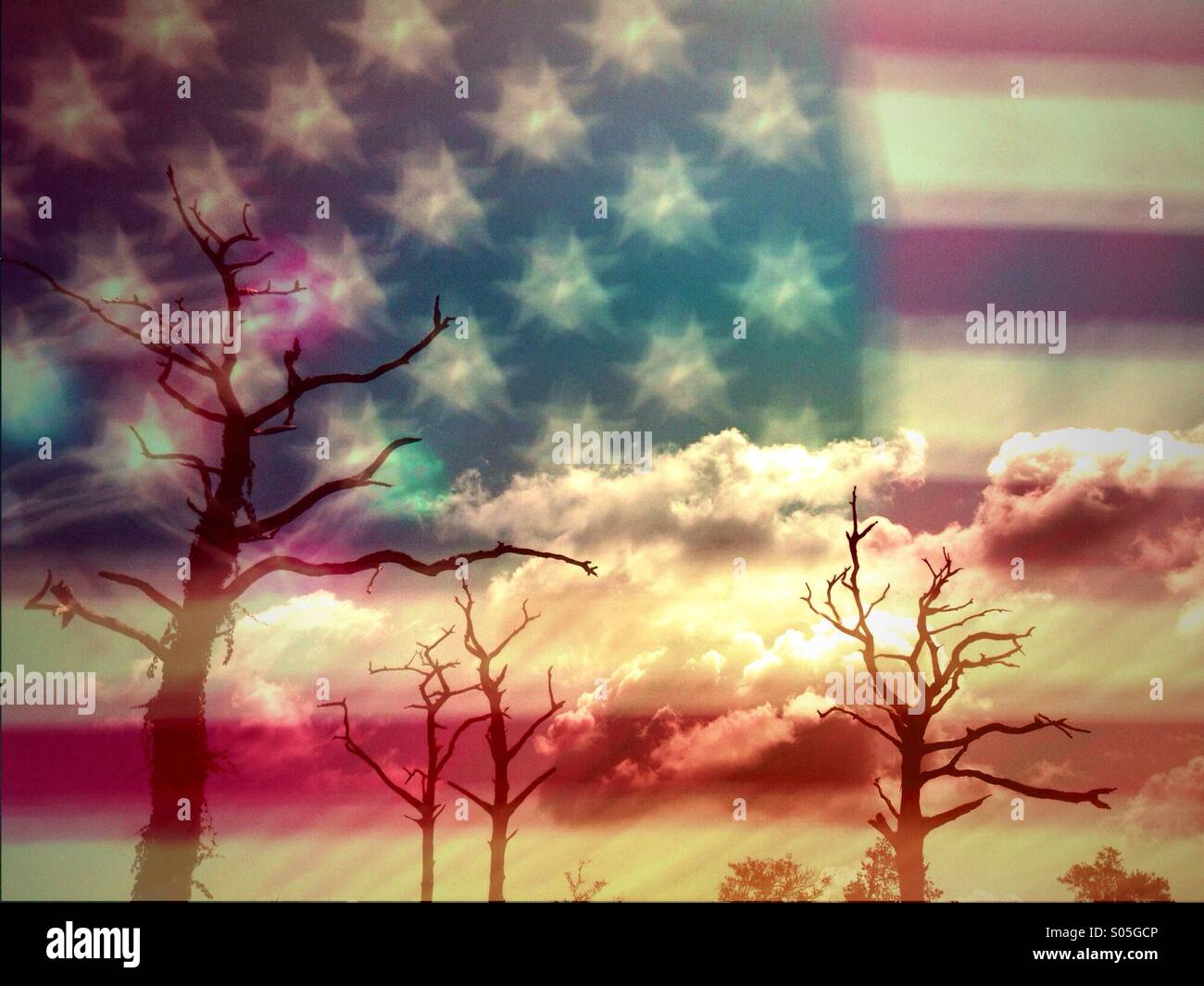 Double_exposure_of_an_American_flag_with