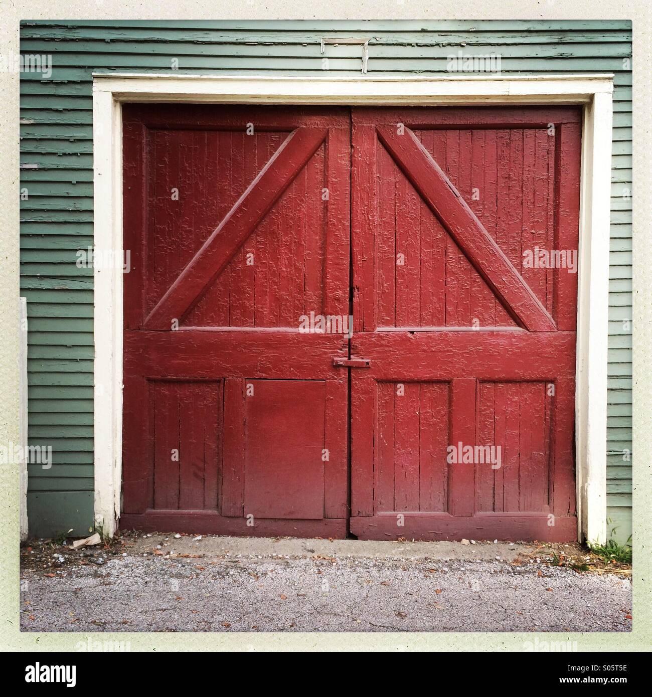 Red, barn door style, garage door Stock Photo, Royalty Free Image ...