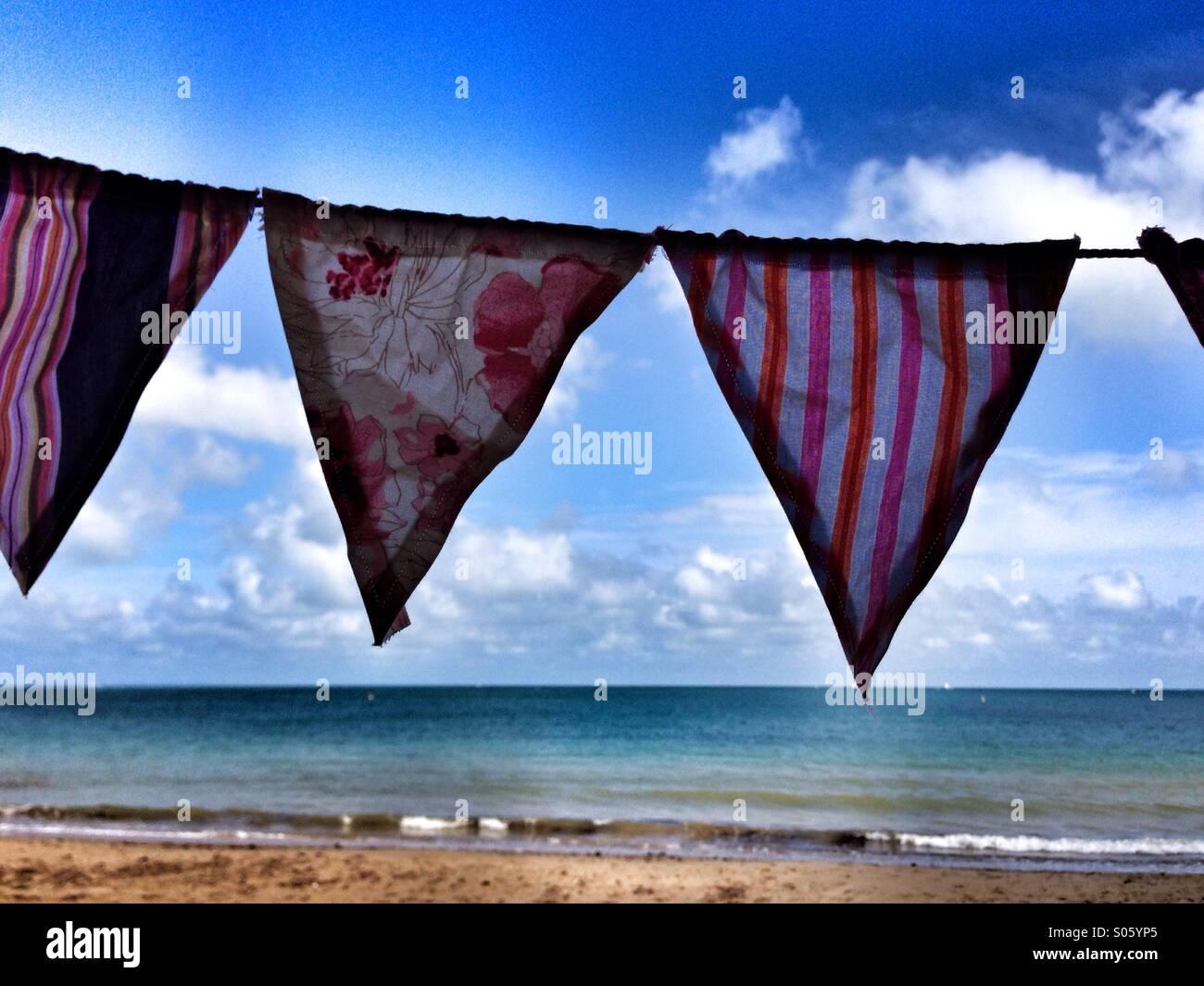 bunting-and-seaside-at-swanage-dorset-uk