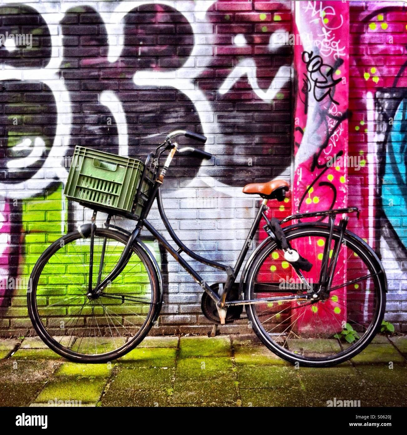 Graffiti wall amsterdam - A Bike Against A Wall With Graffiti On It Amsterdam Netherlands